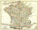 FRANCE: Departments: Sidney Hall, 1850 map